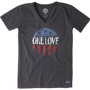 Life Is Good One Love V Neck Graphic Tee
